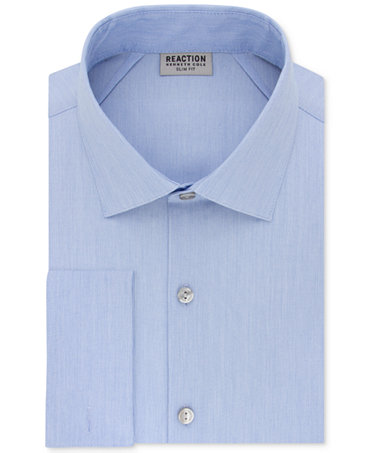 Kenneth Cole Reaction Mens Slim-Fit Techni-Cole Stretch Performance French-Cuff Dress Shirt