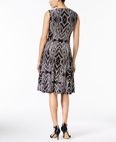 JM Collection Printed Chain-Neck Dress